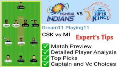CSK vs MI Dream 11 Team Playing 11 Match Prediction Pitch Report IPL 2020 Match 41 MI vs CSK