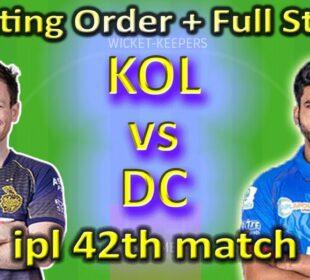 DC vs KOL IPL Indian premier League 2020 Dream11 team