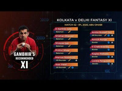 Gambhir picks a pace-heavy fantasy XI for KKR-DC clash | IPL 2020 Match 42, KKR v DC | Cricket.com