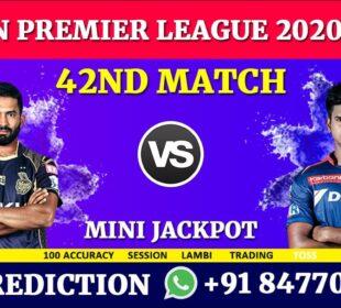 IPL 2020   42nd Match   Kolkata Knight Riders vs Delhi Capitals   100% FIX PREDICTION
