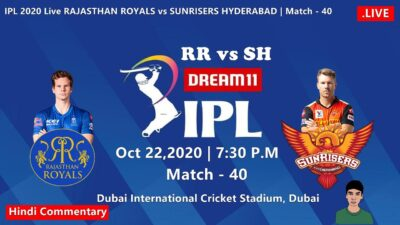 IPL 2020 Live Rajasthan vs Hyderabad Dream 11 [Hindi Commentary] #RRvsSH - Day Sun