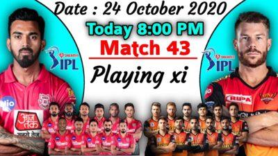 IPL 2020 - Match 43 | Kings Xi Punjab vs Sunrisers Hyderabad Playing xi | SRH vs KXIP Playing 11