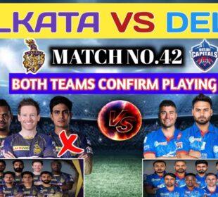 IPL 2020 Match No.42 Kolkata Knight Riders Vs Delhi Capitals Playing 11 & H2H Prediction  KKR Vs DC